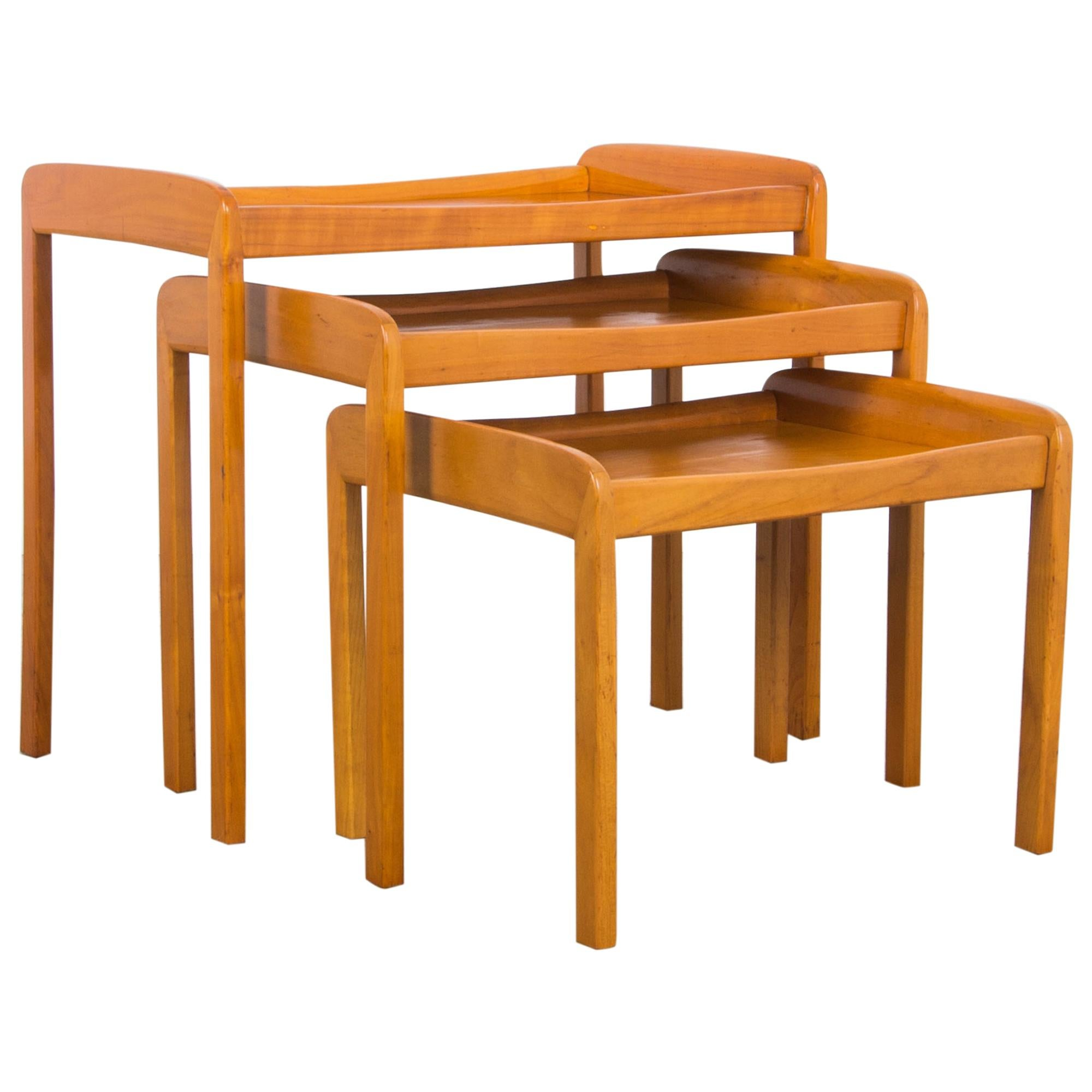 Mid-Century Modern Wooden Nesting Tables, Set of Three