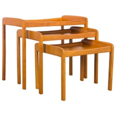 Mid-Century Modern Wooden Nesting Tables, Set of Three