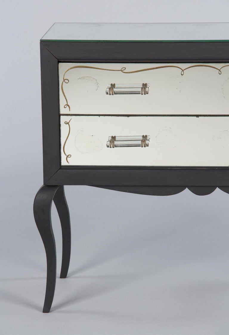 Midcentuy Venetian Glass Chest with Black Wooden Frame For Sale 3