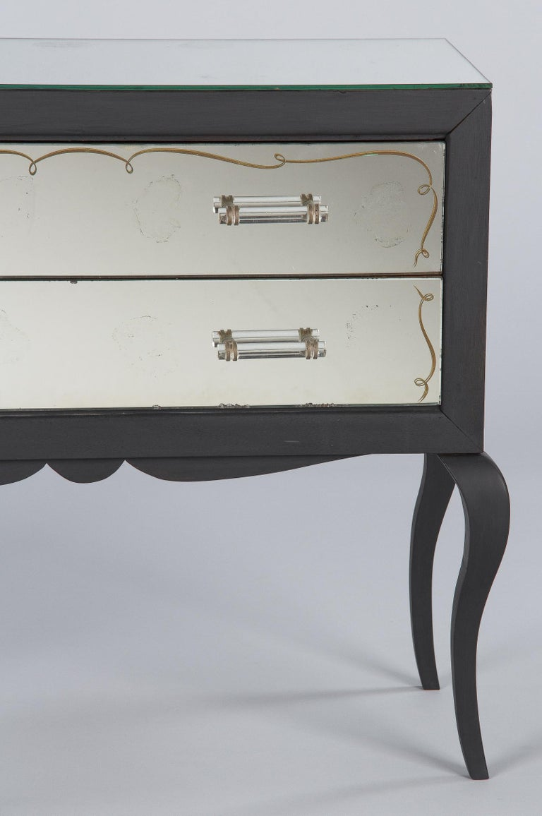 Midcentuy Venetian Glass Chest with Black Wooden Frame For Sale 4