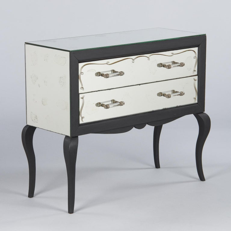 Mid-Century Modern Midcentuy Venetian Glass Chest with Black Wooden Frame For Sale