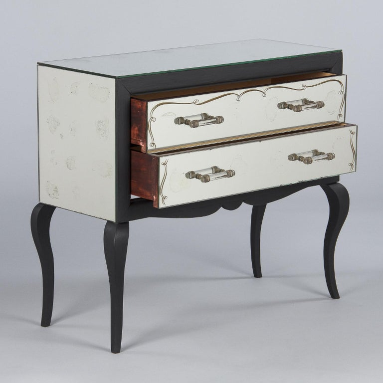 Midcentuy Venetian Glass Chest with Black Wooden Frame In Good Condition For Sale In Austin, TX