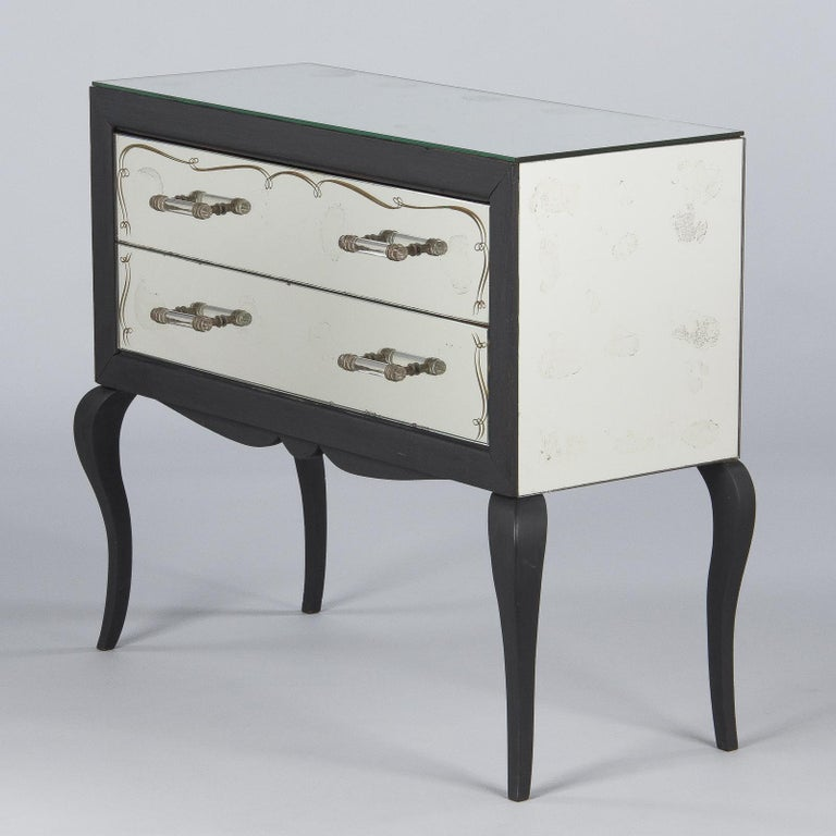 Midcentuy Venetian Glass Chest with Black Wooden Frame For Sale 1