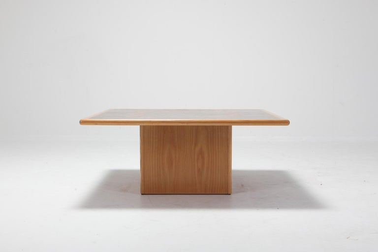 Wenge coffee table by Rolf Middelboe and Gorm Lindum for Tranekaer.  Inlayed cocktail table by Rolf Middelboe with a mosaic structured tabletop of solid oak and mahogany.   Denmark, 1970.
