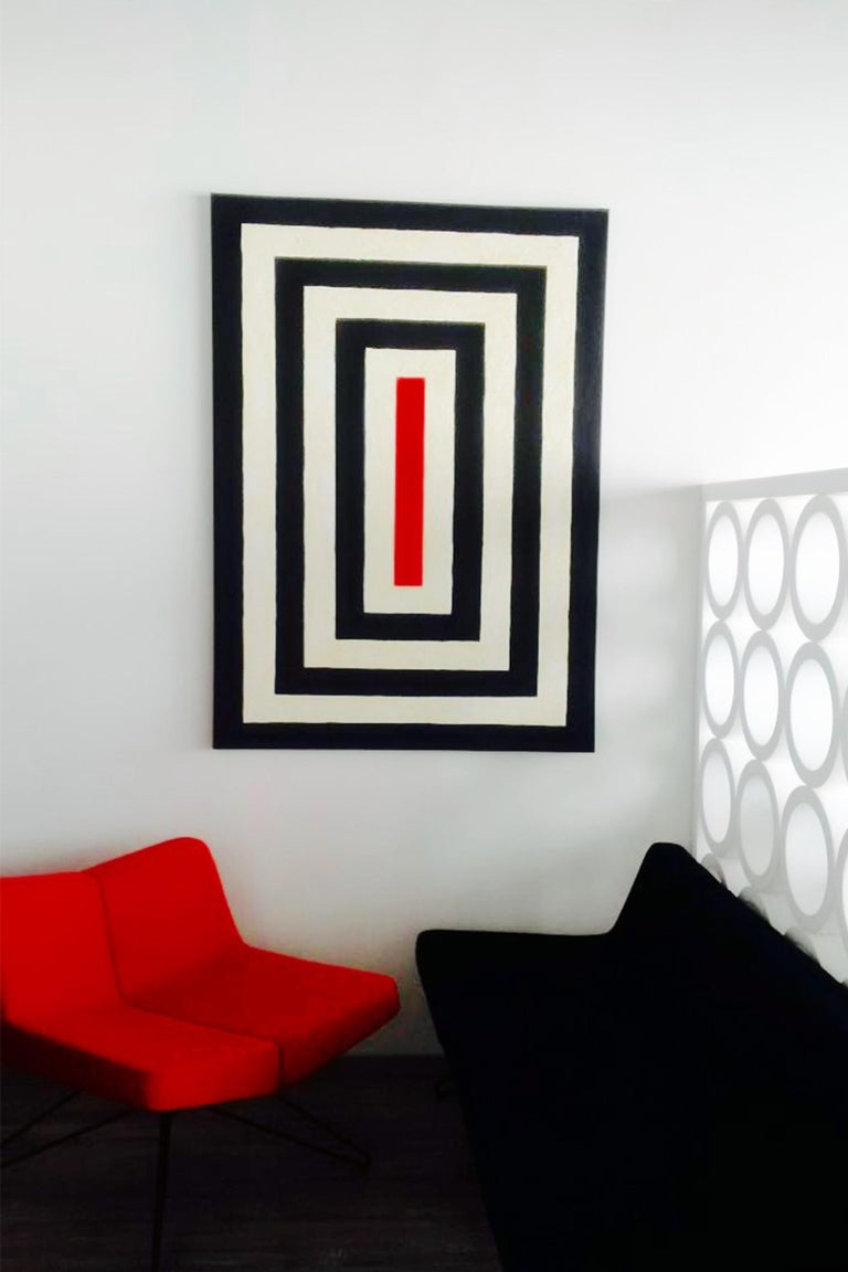 """About the painting """"Middle""""  Strict and simple geometrical lines that focus on the RED centre.    About the artist:  Cecilia's is working with all geometrical forms, lines and shadows.   Her style developed to be clean and sharp forms in different"""