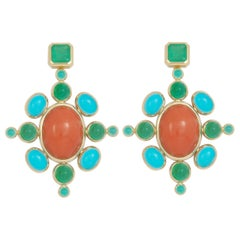 Middle Ages Earrings with Corals, Emeralds, Turquoises, and Paraiba Tourmalines