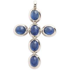 Middle Ages Pendant Crux, 18 Karat White Gold, 6 Sapphires 18.49 Carat