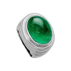 Middle Ages Ring, 18 Karat White Gold, 1 Emerald 14.86 Carat