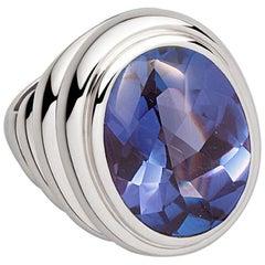 Middle Ages Ring, 18 Karat White Gold, Tanzanite 12.05 Carat