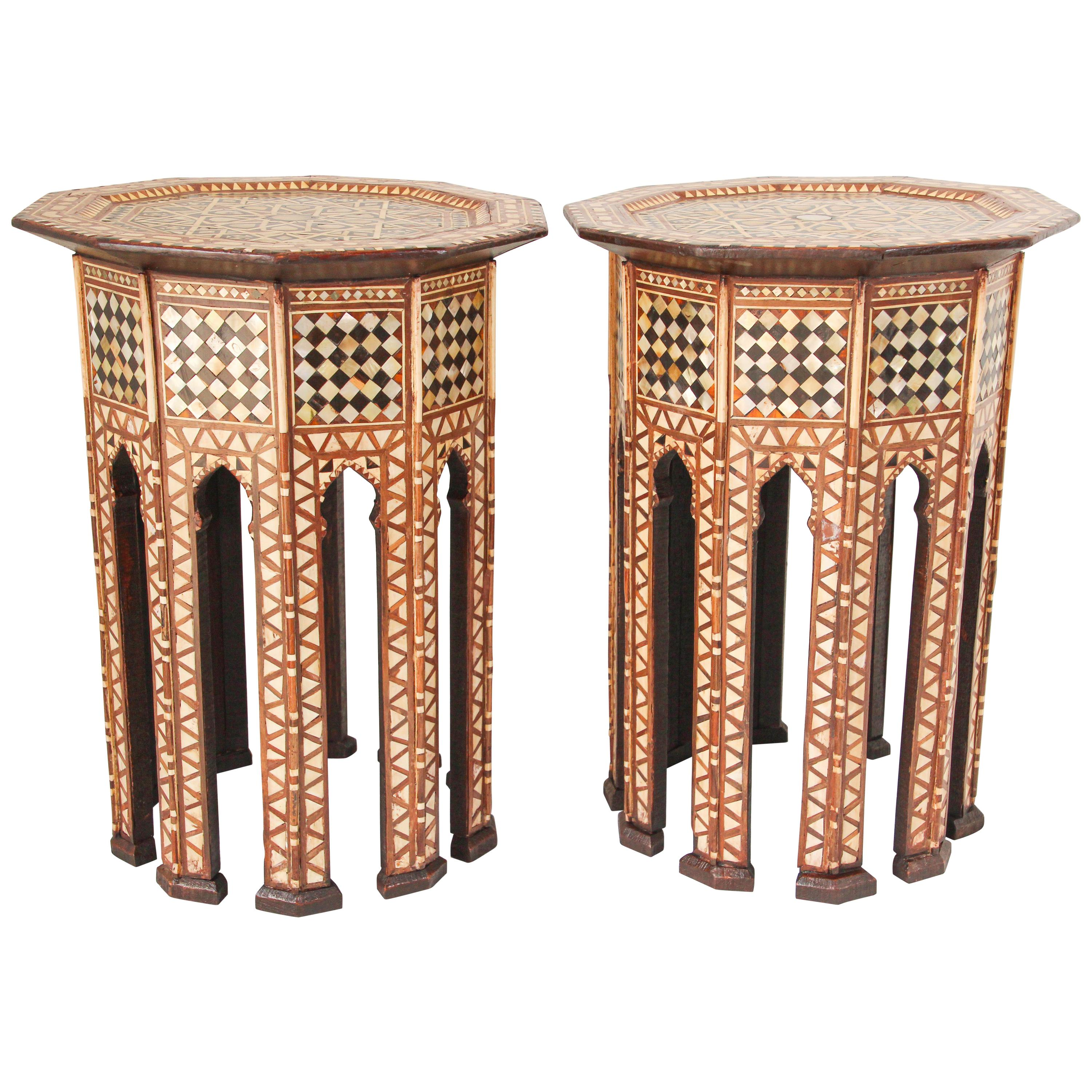 Middle East Syrian Octagonal Tables Inlaid with Mother of Pearl