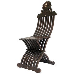Middle Eastern 19th Century Syrian Inlaid Folding Chair