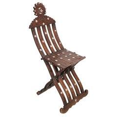 Middle Eastern 19th Century Syrian Inlaid Folding Moorish Chair