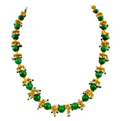 Middle Eastern 22 Karat Yellow Gold, Malachite, Pearl and Emerald Bead Necklace