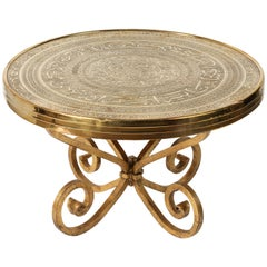 Middle Eastern Antique Brass Tray Table on Gilt Iron Stand