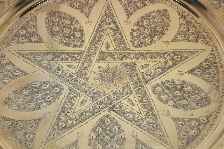 Middle Eastern Antique Round Brass Tray For Sale 3