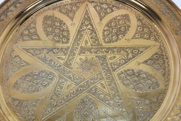 Middle Eastern Antique Round Brass Tray For Sale 5
