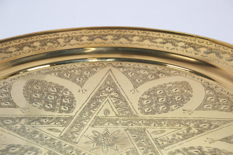 Middle Eastern Antique Round Brass Tray For Sale 6