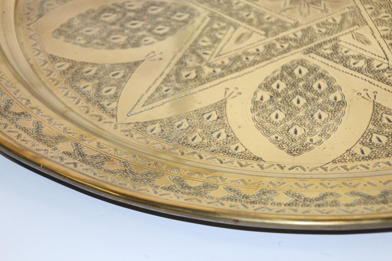 Middle Eastern Antique Round Brass Tray For Sale 8