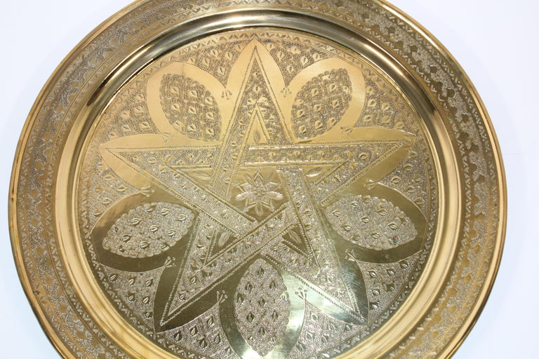 Middle Eastern Antique Round Brass Tray For Sale 9