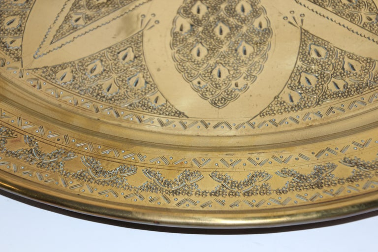Middle Eastern Antique Round Brass Tray For Sale 10