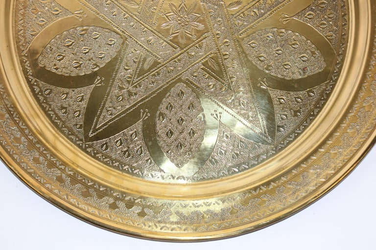 Middle Eastern Antique Round Brass Tray For Sale 11