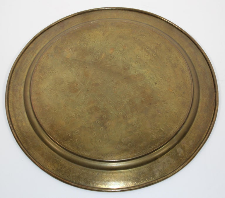 Middle Eastern Antique Round Brass Tray For Sale 12