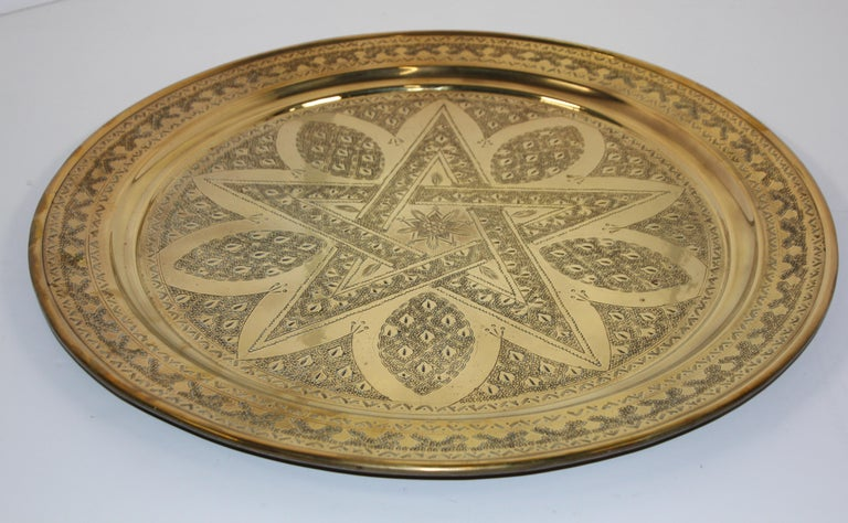 Islamic Middle Eastern Antique Round Brass Tray For Sale