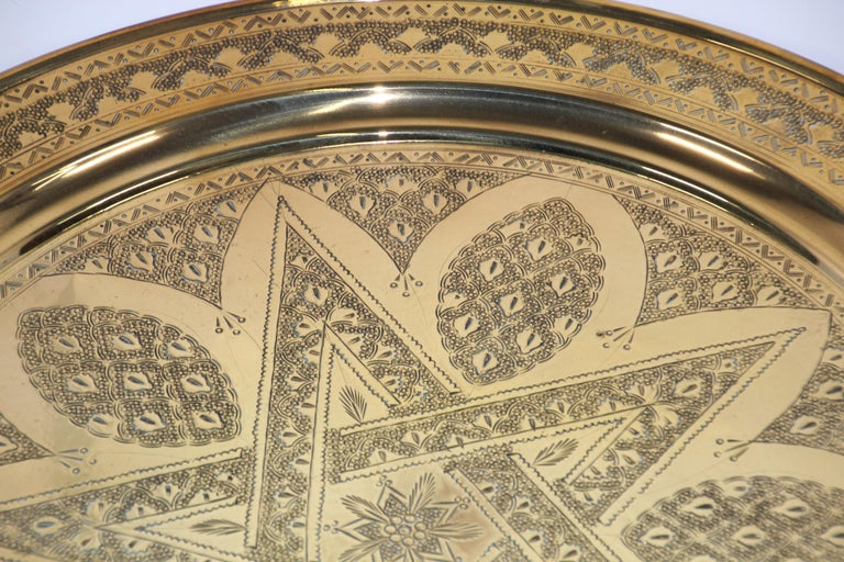 Syrian Middle Eastern Antique Round Brass Tray For Sale