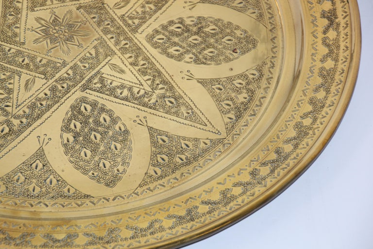 Early 20th Century Middle Eastern Antique Round Brass Tray For Sale