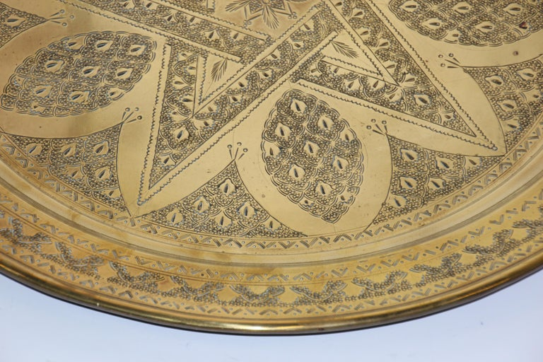Middle Eastern Antique Round Brass Tray For Sale 1