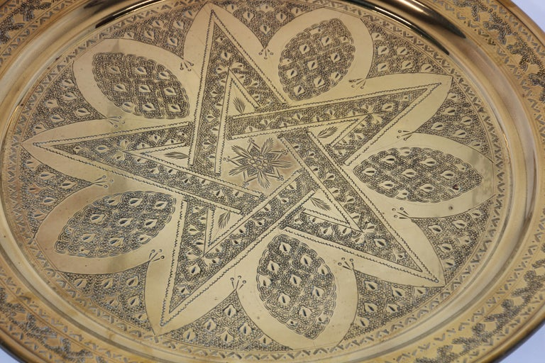 Middle Eastern Antique Round Brass Tray For Sale 2