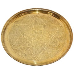 Middle Eastern Antique Round Brass Tray