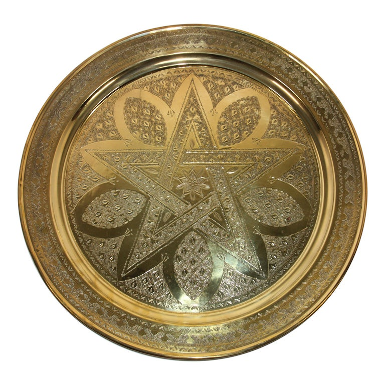 Middle Eastern Antique Round Brass Tray For Sale