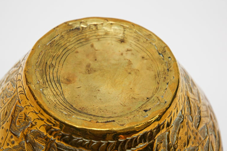 Middle Eastern Brass Bowl with Egyptian Scene For Sale 4
