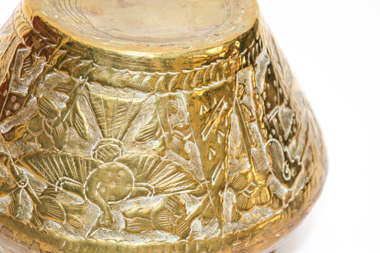 Middle Eastern Brass Bowl with Egyptian Scene For Sale 5