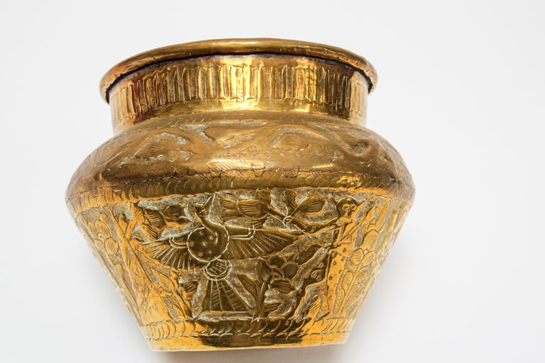 Middle Eastern Brass Bowl with Egyptian Scene For Sale 6