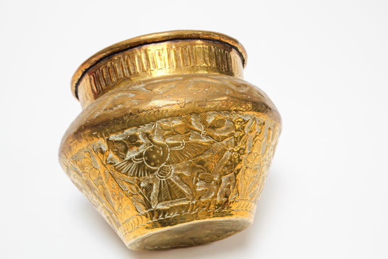 Middle Eastern Brass Bowl with Egyptian Scene For Sale 7