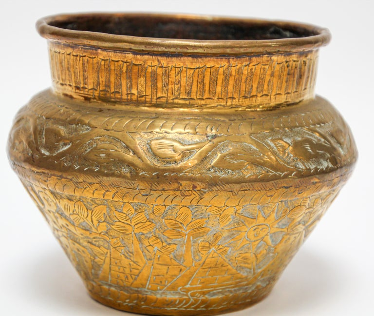 Islamic Middle Eastern Brass Bowl with Egyptian Scene For Sale