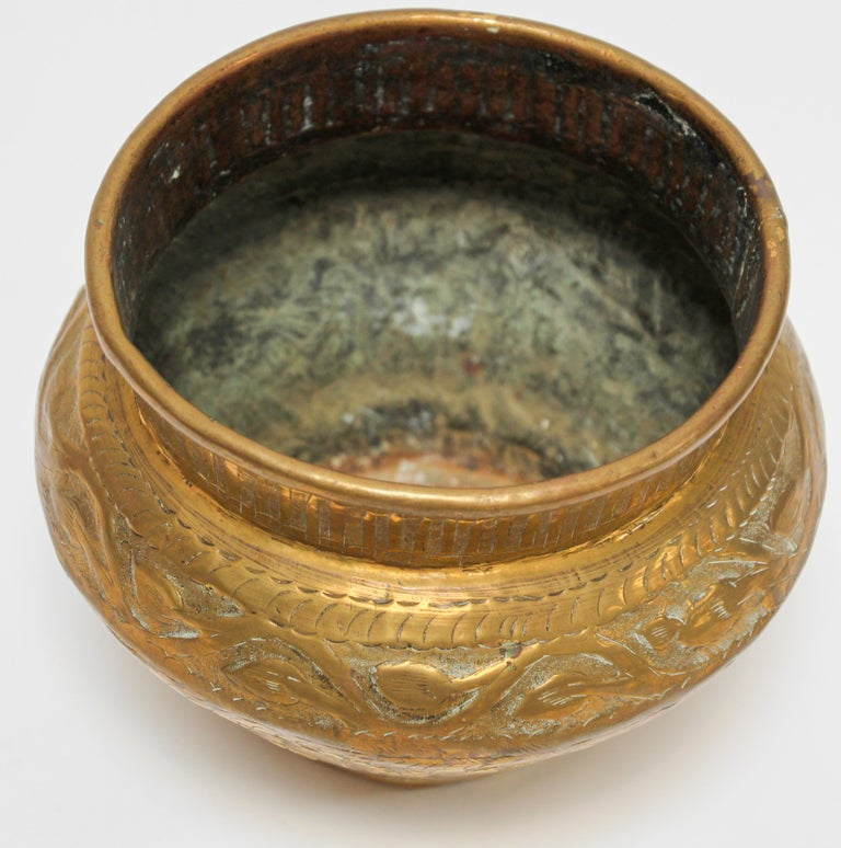 Hand-Crafted Middle Eastern Brass Bowl with Egyptian Scene For Sale