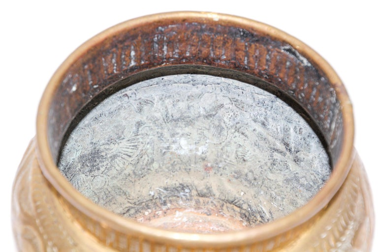 Middle Eastern Brass Bowl with Egyptian Scene In Good Condition For Sale In North Hollywood, CA