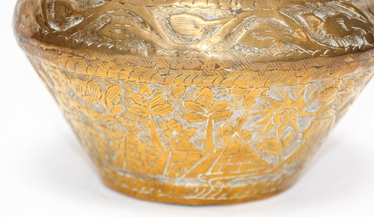 20th Century Middle Eastern Brass Bowl with Egyptian Scene For Sale