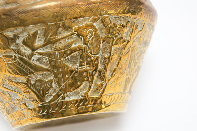 Middle Eastern Brass Bowl with Egyptian Scene For Sale 2