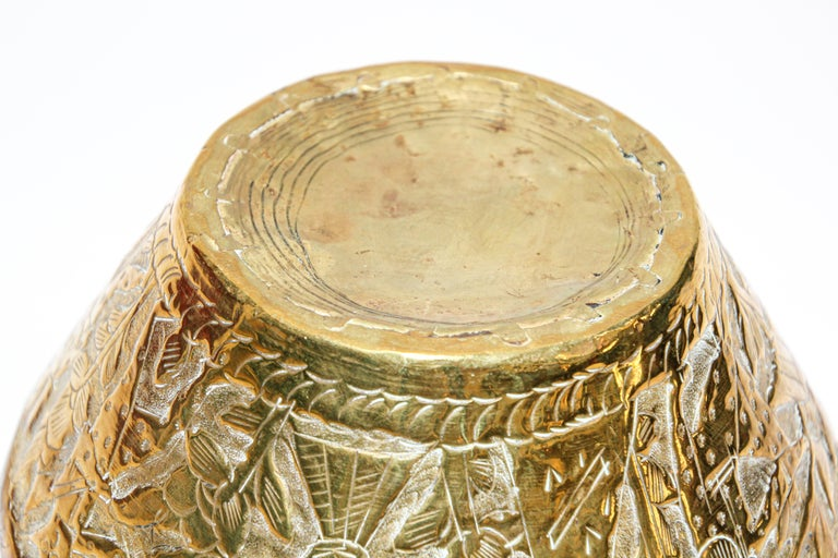 Middle Eastern Brass Bowl with Egyptian Scene For Sale 3