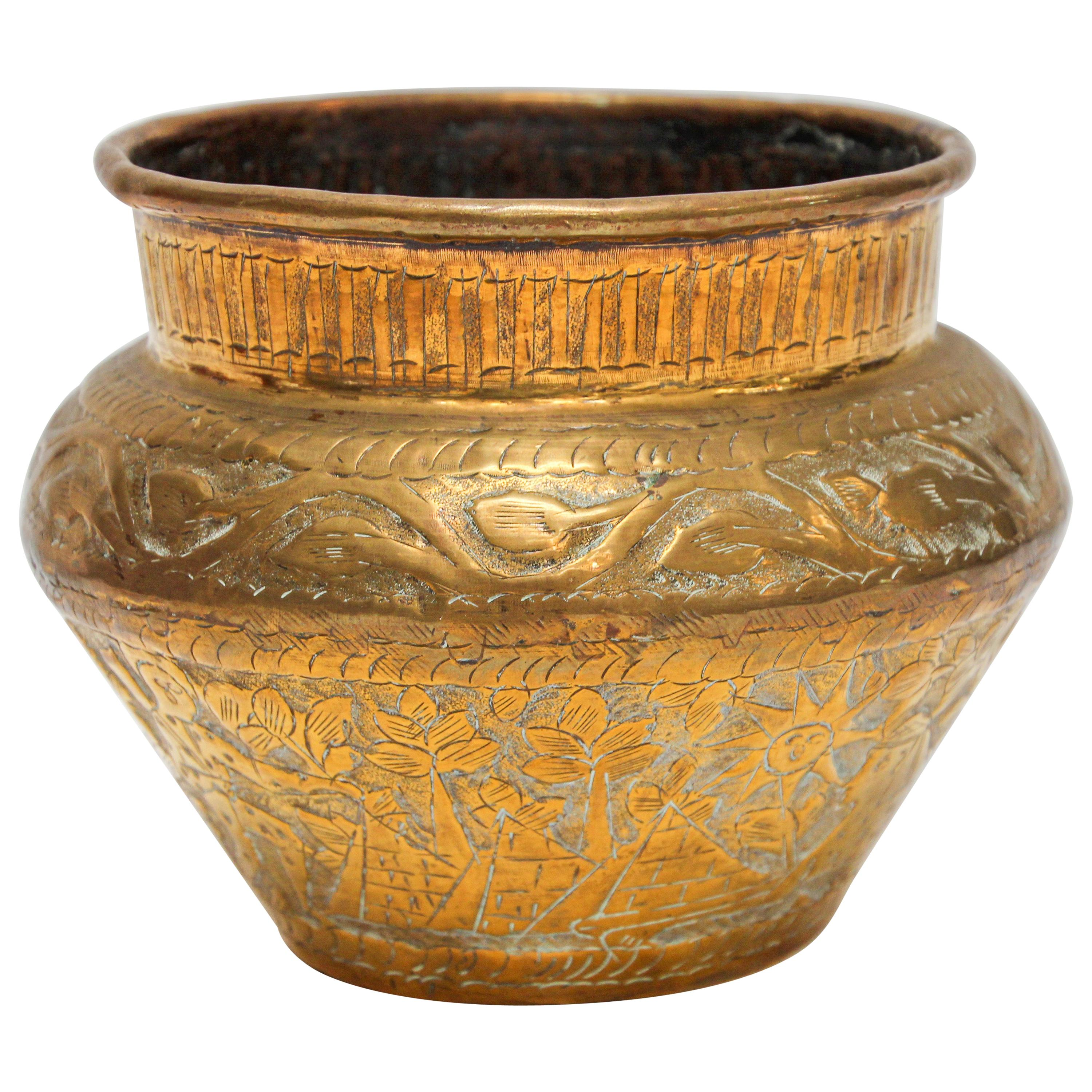Middle Eastern Brass Bowl with Egyptian Scene