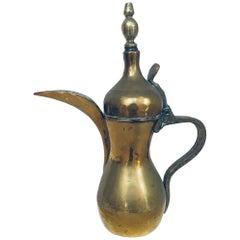 Middle Eastern Dallah Arabic Brass Coffee Pot