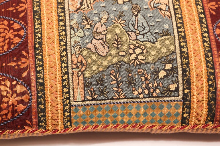 Silk Middle Eastern Decorative Throw Pillow For Sale