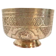 Middle Eastern Hand-Etched Islamic Footed Brass Bowl
