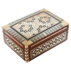 Middle Eastern Handcrafted Octagonal Box Inlaid with Mother-of-Pearl