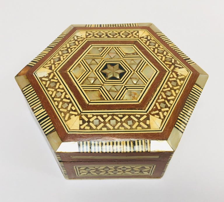Moorish Middle Eastern Handcrafted Syrian Octagonal Box Mother of Pearl Inlaid For Sale