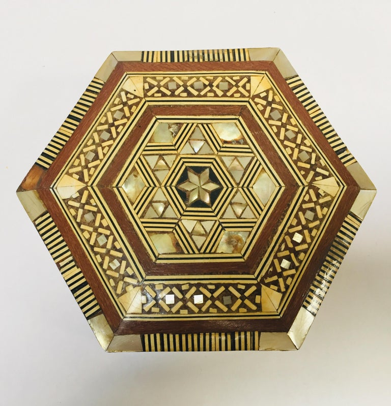 Inlay Middle Eastern Handcrafted Syrian Octagonal Box Mother of Pearl Inlaid For Sale